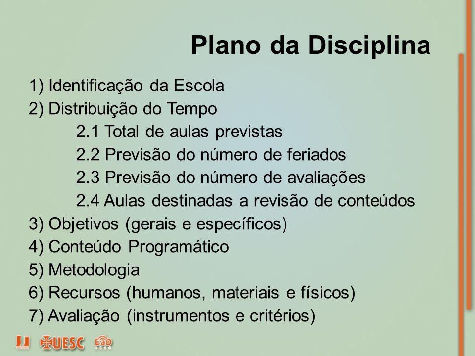 Plano da Disciplina 1) Identificação da Escola 2) Distribuição do Tempo 2.1 Total de aulas previstas 2.2 Previsão do número de feriados 2.3 Previsão d