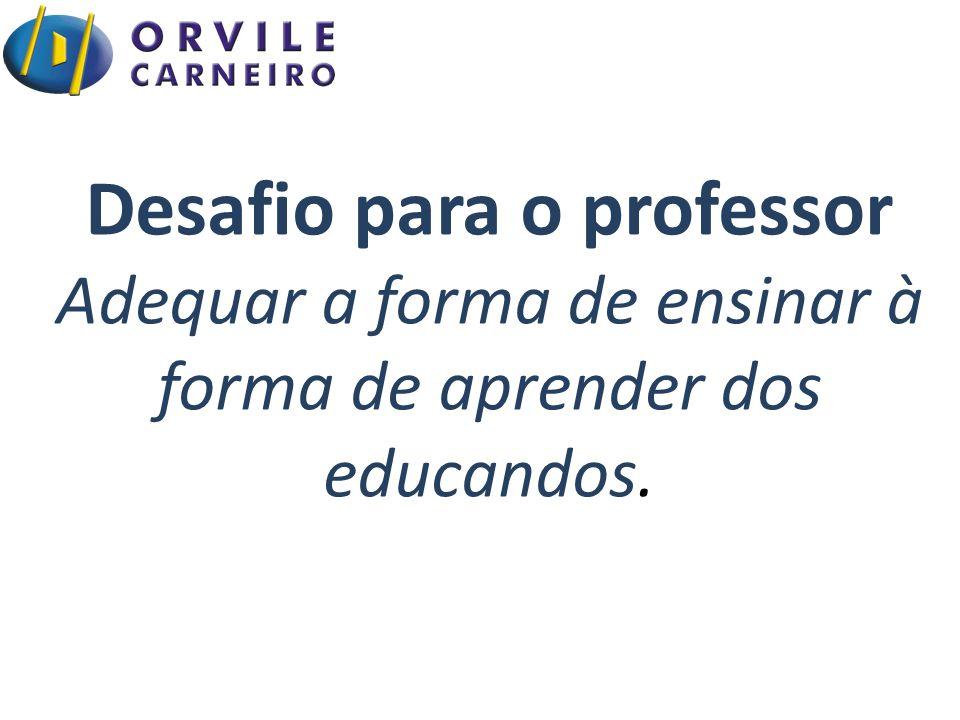 Desafio para o professor Adequar a forma de ensinar à forma de aprender dos educandos.