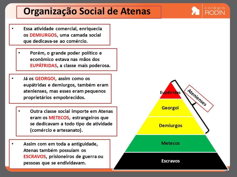 Organização Social de Atenas Essa atividade comercial, enriquecia os DEMIURGOS, uma camada social que dedicava-se ao comércio.