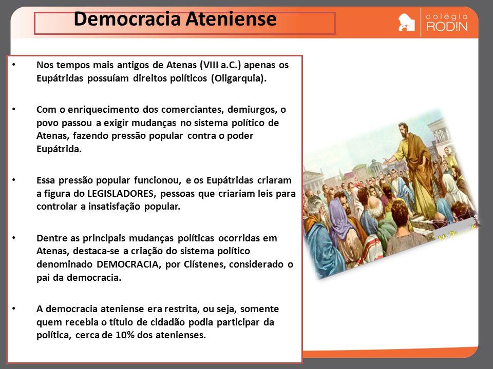 Democracia Ateniense Nos tempos mais antigos de Atenas (VIII a.C.) apenas os Eupátridas possuíam direitos políticos (Oligarquia).