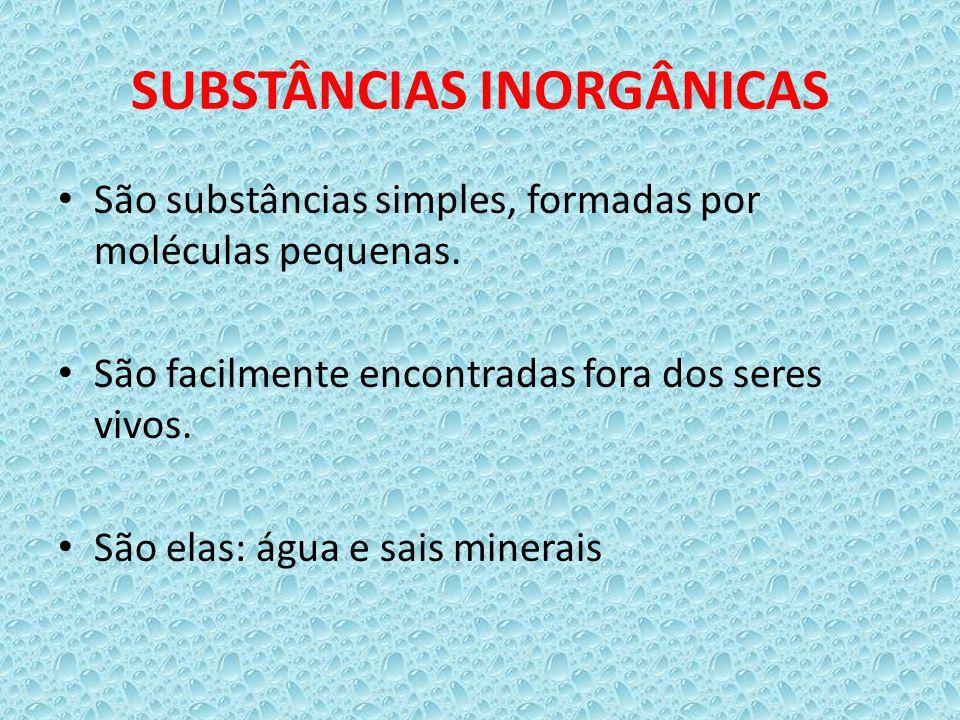 SUBSTÂNCIAS INORGÂNICAS São substâncias simples, formadas por moléculas pequenas. São facilmente encontradas fora dos seres vivos. São elas: água e sa