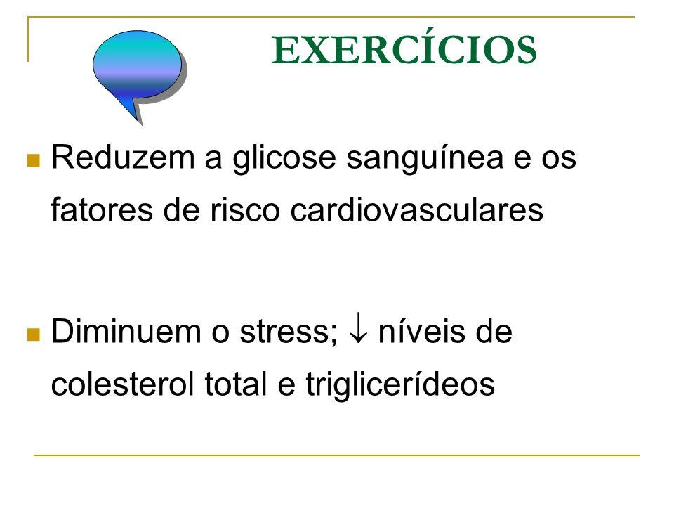 EXERCÍCIOS Reduzem a glicose sanguínea e os fatores de risco cardiovasculares Diminuem o stress;  níveis de colesterol total e triglicerídeos