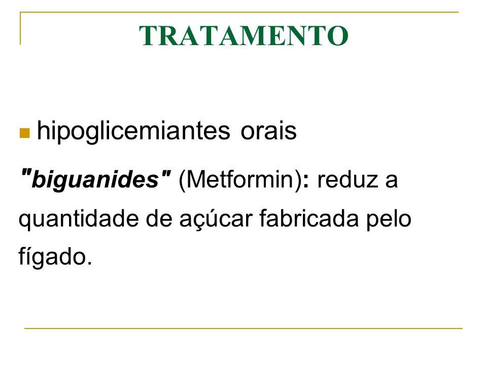 TRATAMENTO hipoglicemiantes orais biguanides (Metformin): reduz a quantidade de açúcar fabricada pelo fígado.