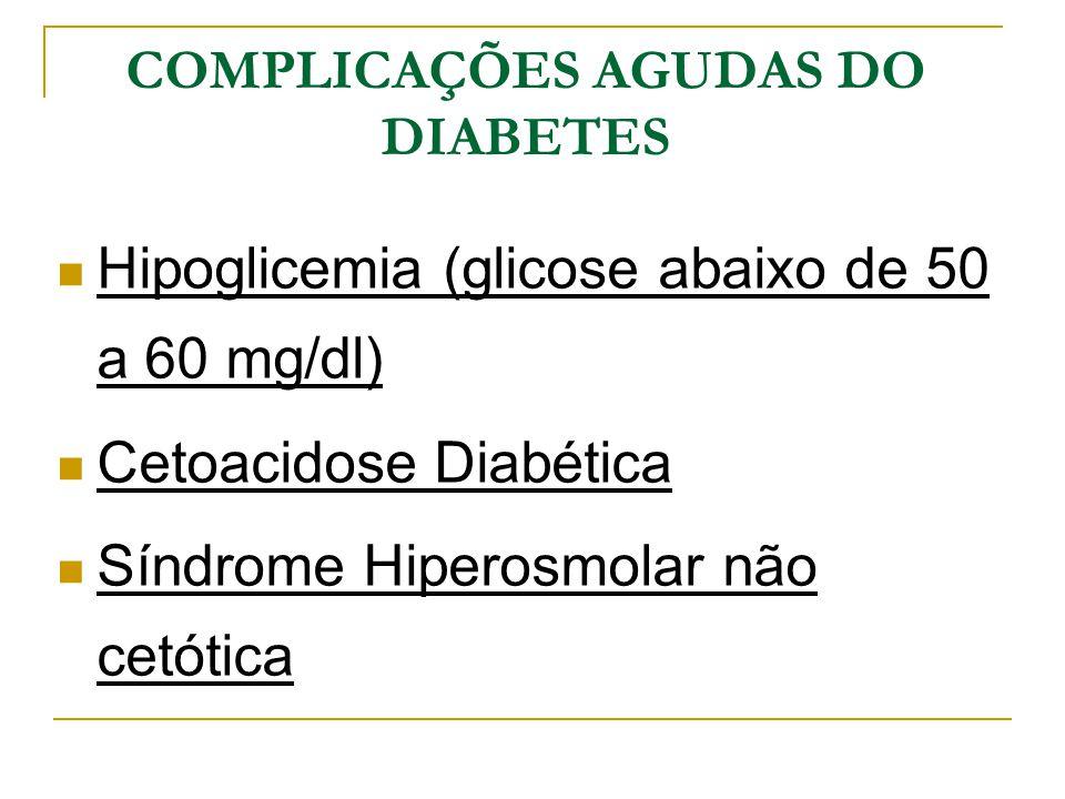COMPLICAÇÕES AGUDAS DO DIABETES Hipoglicemia (glicose abaixo de 50 a 60 mg/dl) Cetoacidose Diabética Síndrome Hiperosmolar não cetótica