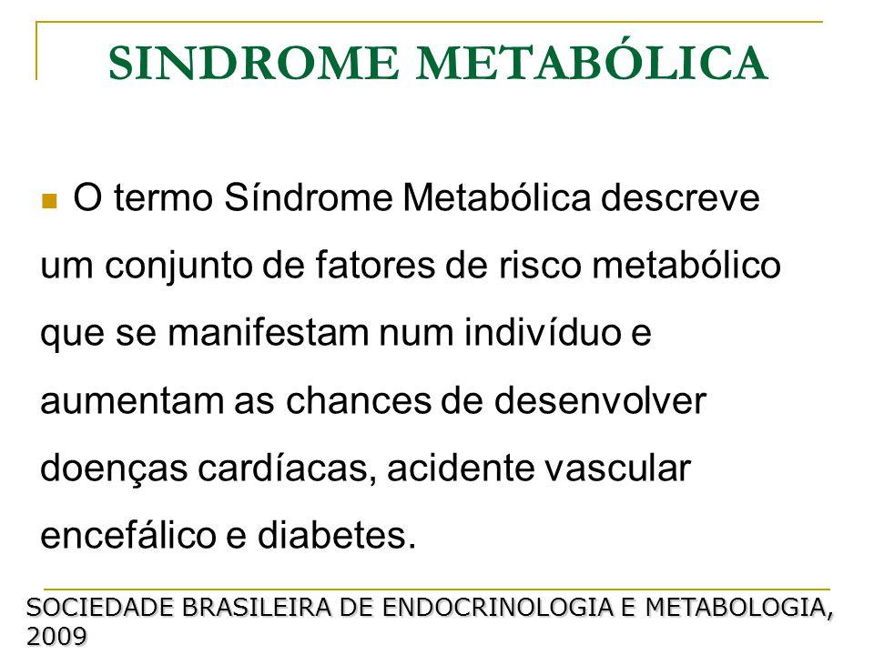 SINDROME METABÓLICA O termo Síndrome Metabólica descreve um conjunto de fatores de risco metabólico que se manifestam num indivíduo e aumentam as chances de desenvolver doenças cardíacas, acidente vascular encefálico e diabetes.