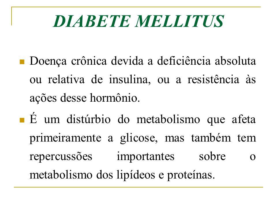 DIABETE MELLITUS Doença crônica devida a deficiência absoluta ou relativa de insulina, ou a resistência às ações desse hormônio.