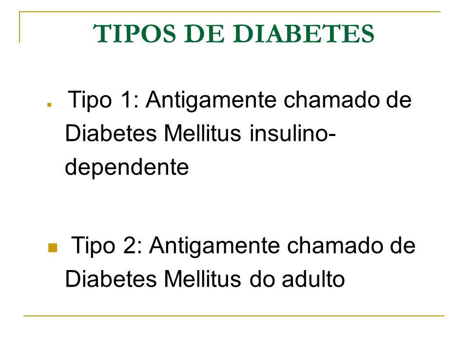 TIPOS DE DIABETES Tipo 1: Antigamente chamado de Diabetes Mellitus insulino- dependente Tipo 2: Antigamente chamado de Diabetes Mellitus do adulto