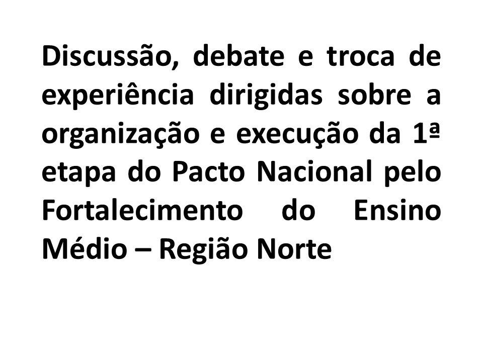 Discussão, debate e troca de experiência dirigidas sobre a organização e execução da 1ª etapa do Pacto Nacional pelo Fortalecimento do Ensino Médio – Região Norte