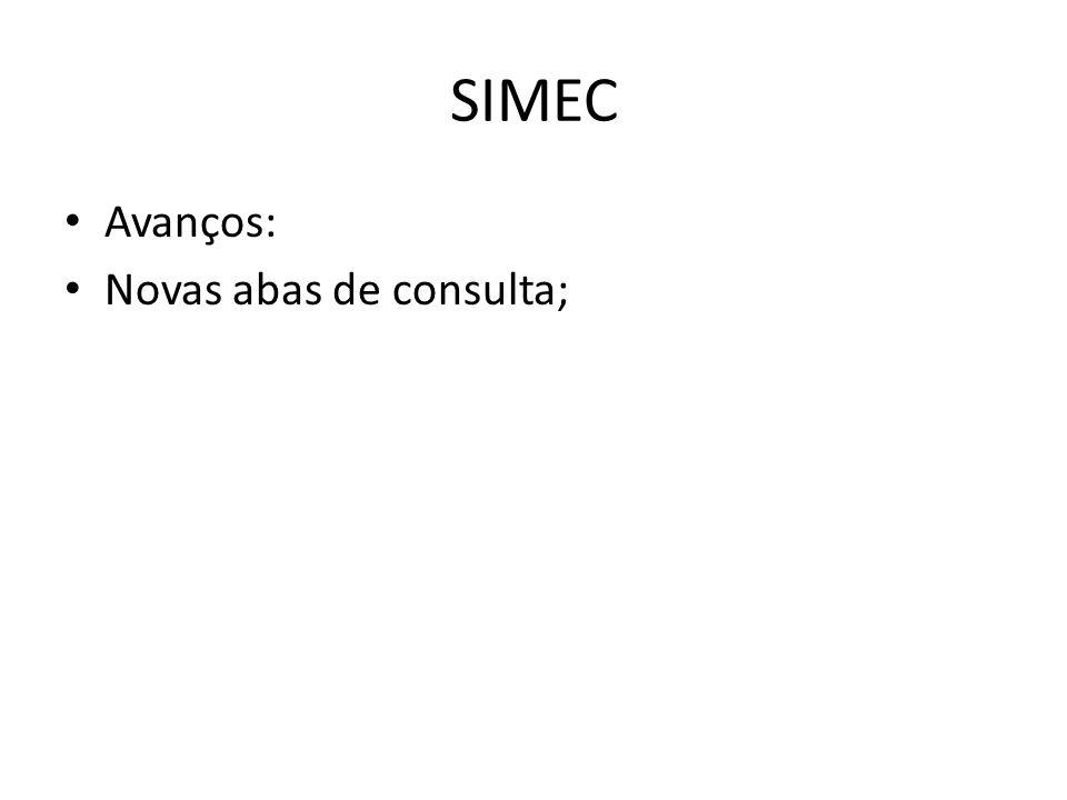 SIMEC Avanços: Novas abas de consulta;