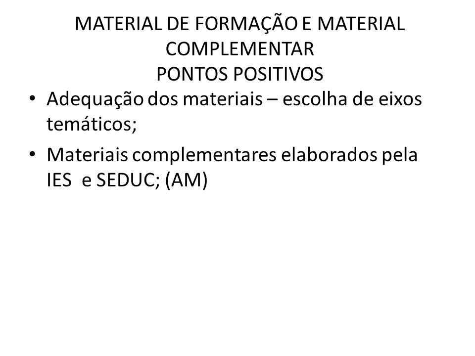 MATERIAL DE FORMAÇÃO E MATERIAL COMPLEMENTAR PONTOS POSITIVOS Adequação dos materiais – escolha de eixos temáticos; Materiais complementares elaborados pela IES e SEDUC; (AM)