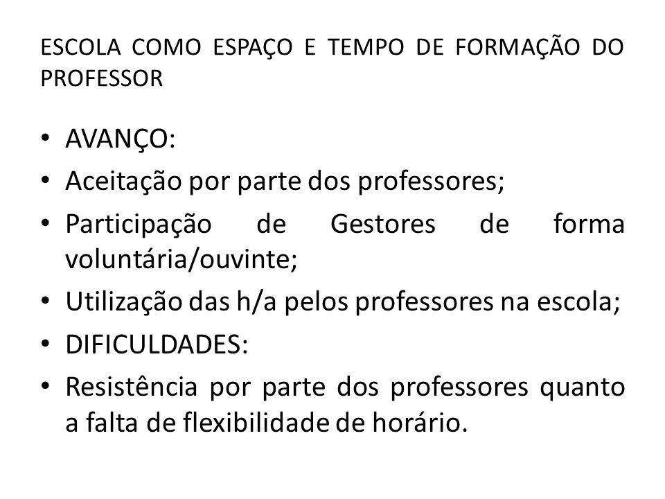 ESCOLA COMO ESPAÇO E TEMPO DE FORMAÇÃO DO PROFESSOR AVANÇO: Aceitação por parte dos professores; Participação de Gestores de forma voluntária/ouvinte; Utilização das h/a pelos professores na escola; DIFICULDADES: Resistência por parte dos professores quanto a falta de flexibilidade de horário.