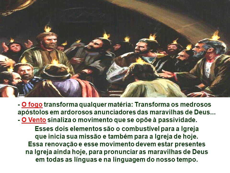 Na 1ª Leitura, Lucas apresenta o fato 50 dias após a Páscoa, fazendo coincidir com o Pentecostes judeu. (At 2,1-11) O interesse do autor é apresentar