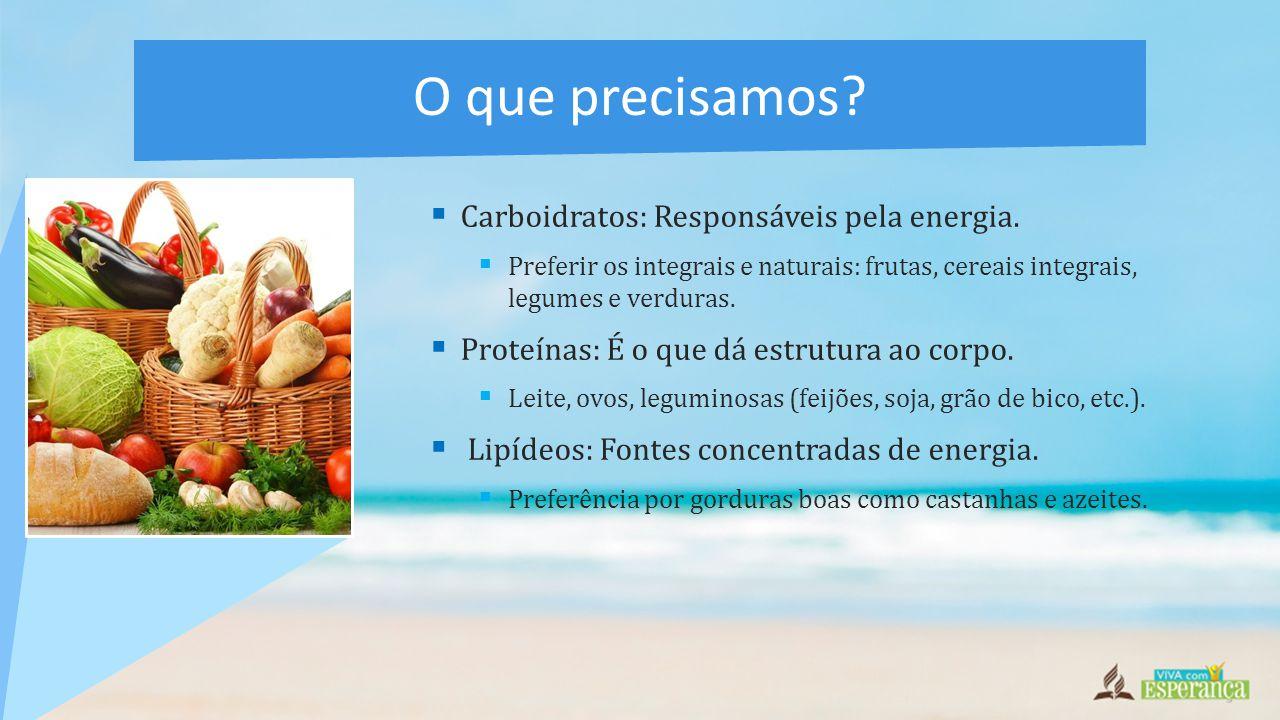  Carboidratos: Responsáveis pela energia.  Preferir os integrais e naturais: frutas, cereais integrais, legumes e verduras.  Proteínas: É o que dá