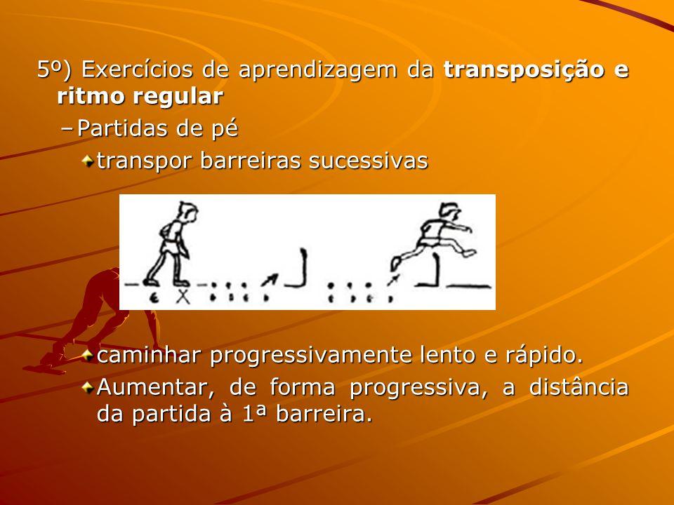 5º) Exercícios de aprendizagem da transposição e ritmo regular –Partidas de pé transpor barreiras sucessivas caminhar progressivamente lento e rápido.
