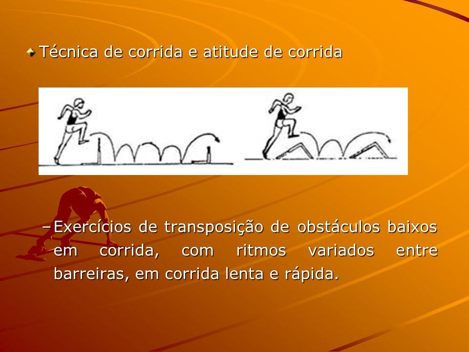 Técnica de corrida e atitude de corrida –Exercícios de transposição de obstáculos baixos em corrida, com ritmos variados entre barreiras, em corrida lenta e rápida.