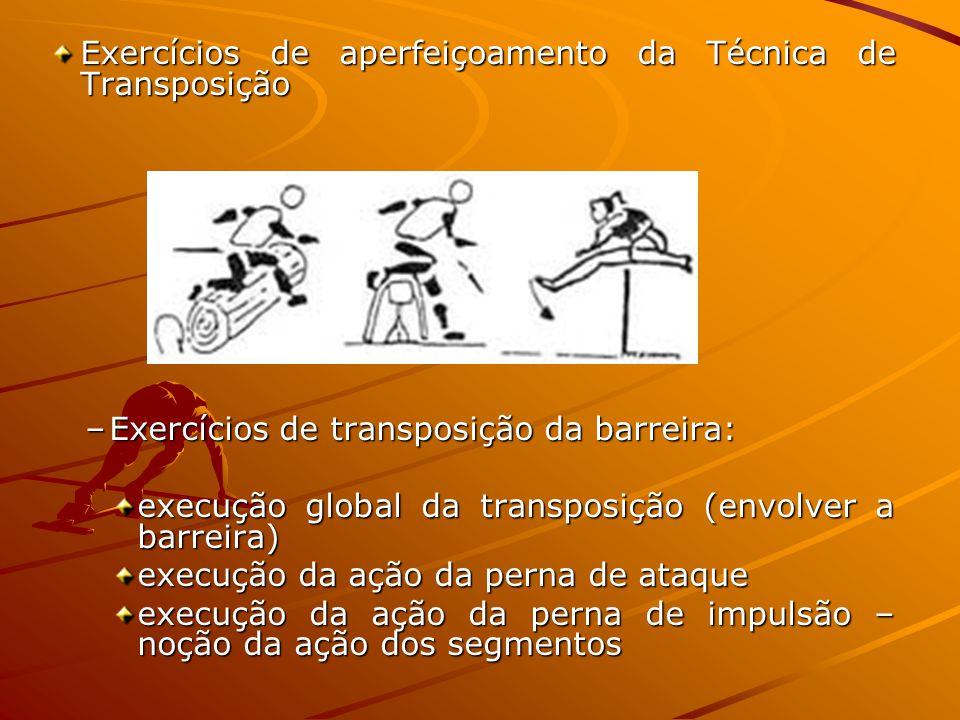 Exercícios de aperfeiçoamento da Técnica de Transposição –Exercícios de transposição da barreira: execução global da transposição (envolver a barreira) execução da ação da perna de ataque execução da ação da perna de impulsão – noção da ação dos segmentos