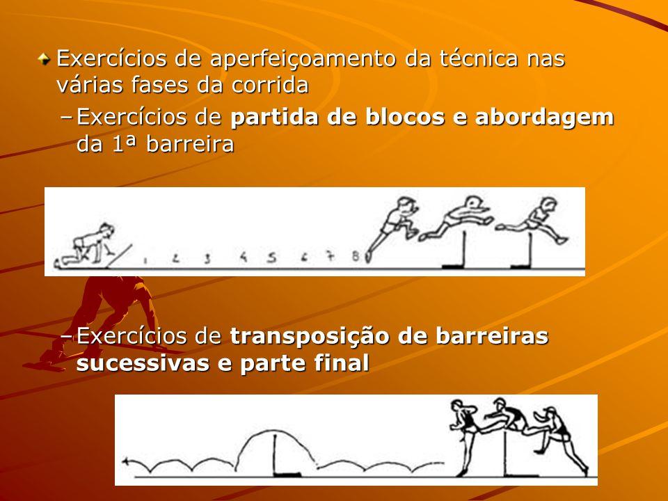 Exercícios de aperfeiçoamento da técnica nas várias fases da corrida –Exercícios de partida de blocos e abordagem da 1ª barreira –Exercícios de transposição de barreiras sucessivas e parte final