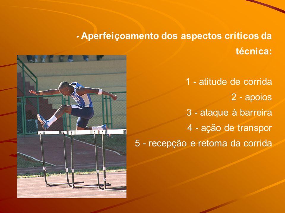 Aperfeiçoamento dos aspectos críticos da técnica: 1 - atitude de corrida 2 - apoios 3 - ataque à barreira 4 - ação de transpor 5 - recepção e retoma da corrida