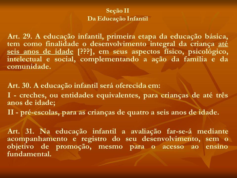 Seção II Da Educação Infantil Art. 29. A educação infantil, primeira etapa da educação básica, tem como finalidade o desenvolvimento integral da crian