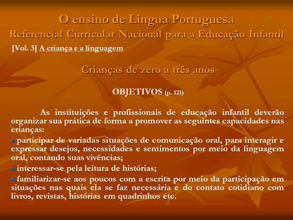 O ensino de Língua Portuguesa Referencial Curricular Nacional para a Educação Infantil [Vol. 3] A criança e a linguagem Crianças de zero a três anos O