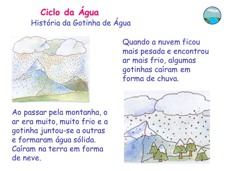 Ciclo da Água Quando a nuvem ficou mais pesada e encontrou ar mais frio, algumas gotinhas caíram em forma de chuva.