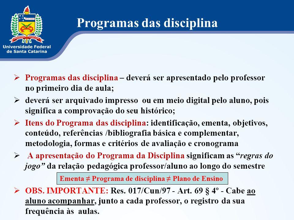 Programas das disciplina  Programas das disciplina – deverá ser apresentado pelo professor no primeiro dia de aula;  deverá ser arquivado impresso o