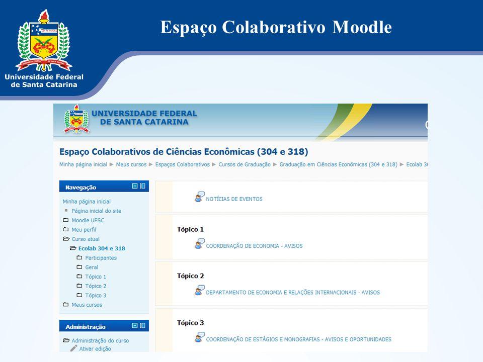 O Espaço Colaborativo Moodle dos cursos de graduação da UFSC tem o objetivo de contribuir no intercâmbio de informações e conhecimentos entre professo