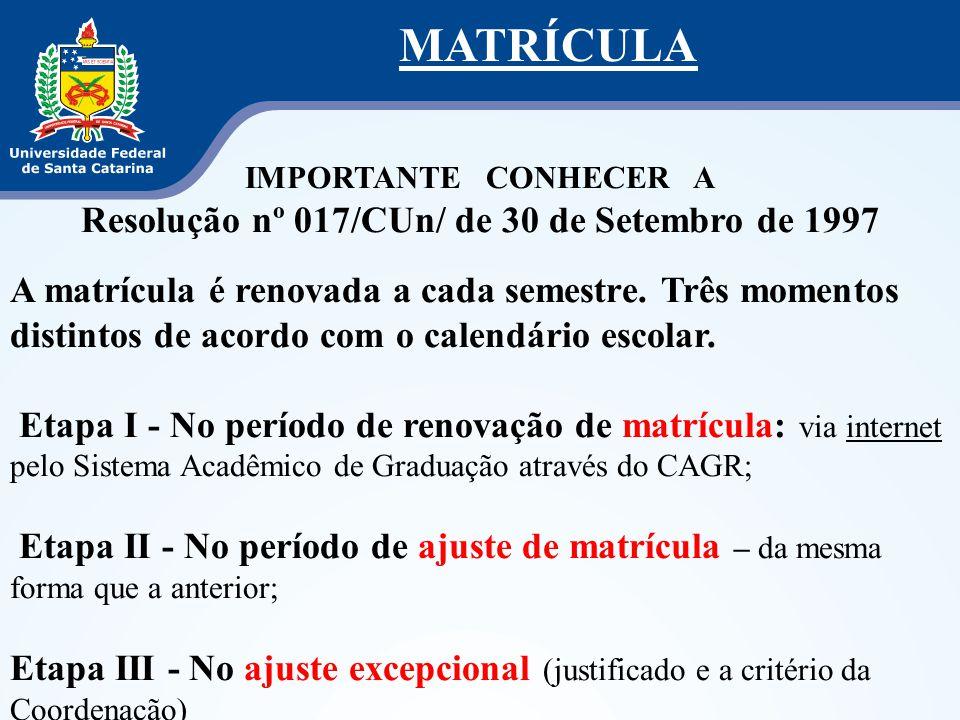 MATRÍCULA IMPORTANTE CONHECER A Resolução nº 017/CUn/ de 30 de Setembro de 1997 A matrícula é renovada a cada semestre. Três momentos distintos de aco