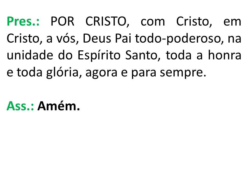 Pres.: POR CRISTO, com Cristo, em Cristo, a vós, Deus Pai todo-poderoso, na unidade do Espírito Santo, toda a honra e toda glória, agora e para sempre