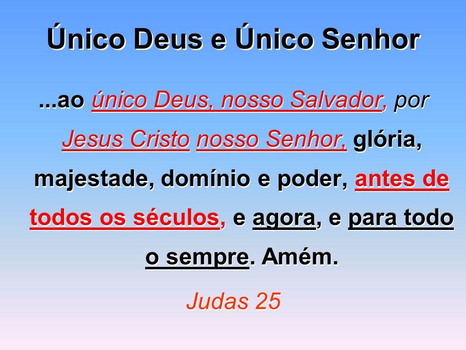 Único Deus e Único Senhor...ao único Deus, nosso Salvador, por Jesus Cristo nosso Senhor, glória, majestade, domínio e poder, antes de todos os séculos, e agora, e para todo o sempre.