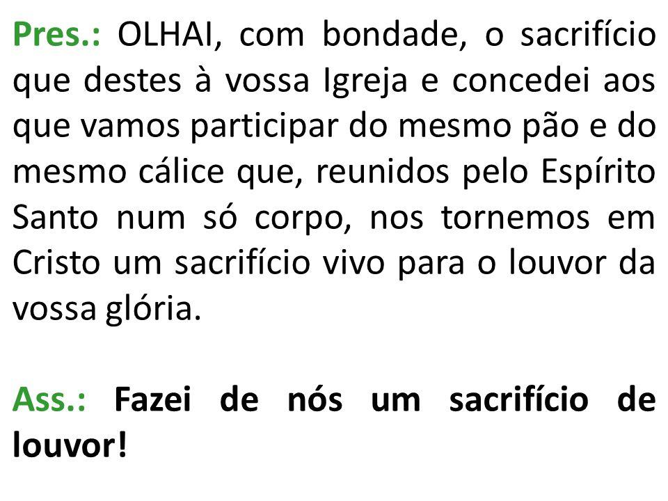 Pres.: OLHAI, com bondade, o sacrifício que destes à vossa Igreja e concedei aos que vamos participar do mesmo pão e do mesmo cálice que, reunidos pel