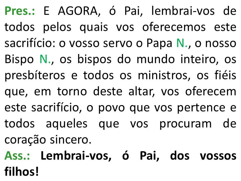 Pres.: E AGORA, ó Pai, lembrai-vos de todos pelos quais vos oferecemos este sacrifício: o vosso servo o Papa N., o nosso Bispo N., os bispos do mundo