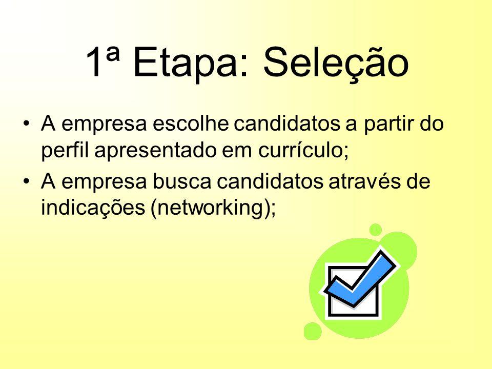1ª Etapa: Seleção A empresa escolhe candidatos a partir do perfil apresentado em currículo; A empresa busca candidatos através de indicações (networking);