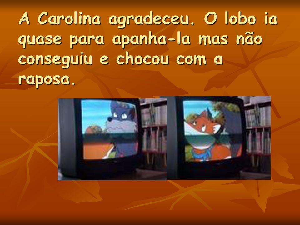 Já disfarçados de meninos o lobo e a raposa correram silenciosos para não despertar atenção da Carolina. Mal os viu a Carolina foi ter com eles e diss