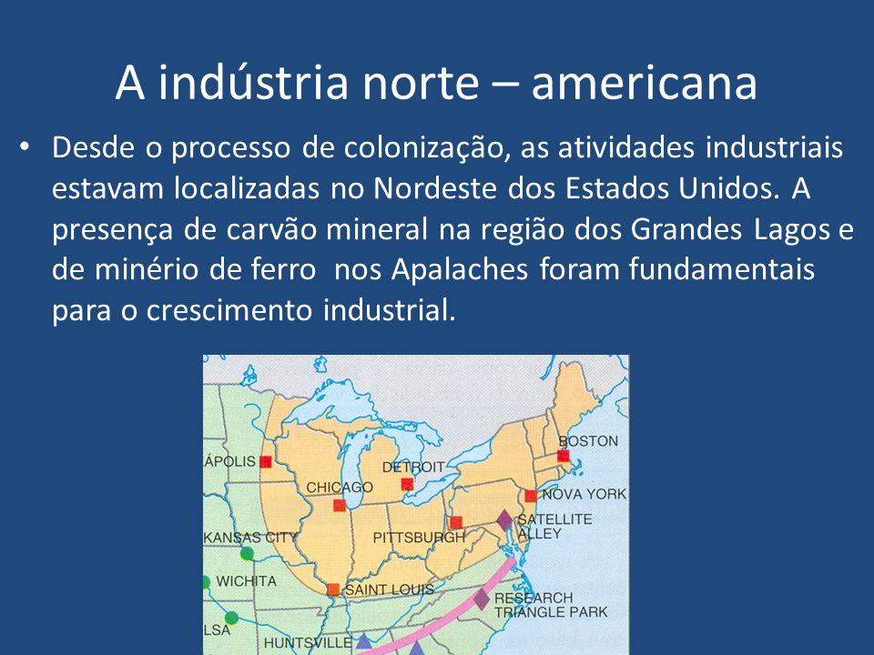A indústria norte – americana Desde o processo de colonização, as atividades industriais estavam localizadas no Nordeste dos Estados Unidos.