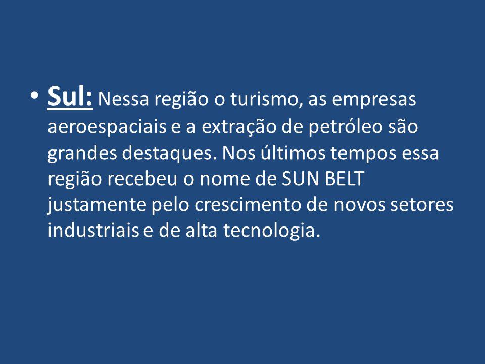 Sul: Nessa região o turismo, as empresas aeroespaciais e a extração de petróleo são grandes destaques.