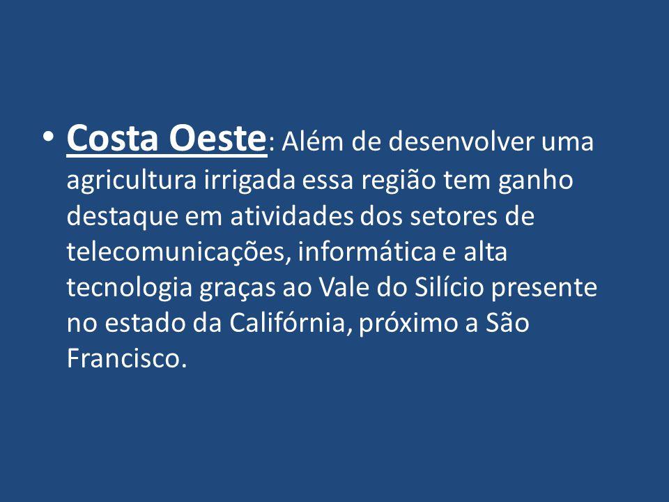 Costa Oeste : Além de desenvolver uma agricultura irrigada essa região tem ganho destaque em atividades dos setores de telecomunicações, informática e alta tecnologia graças ao Vale do Silício presente no estado da Califórnia, próximo a São Francisco.