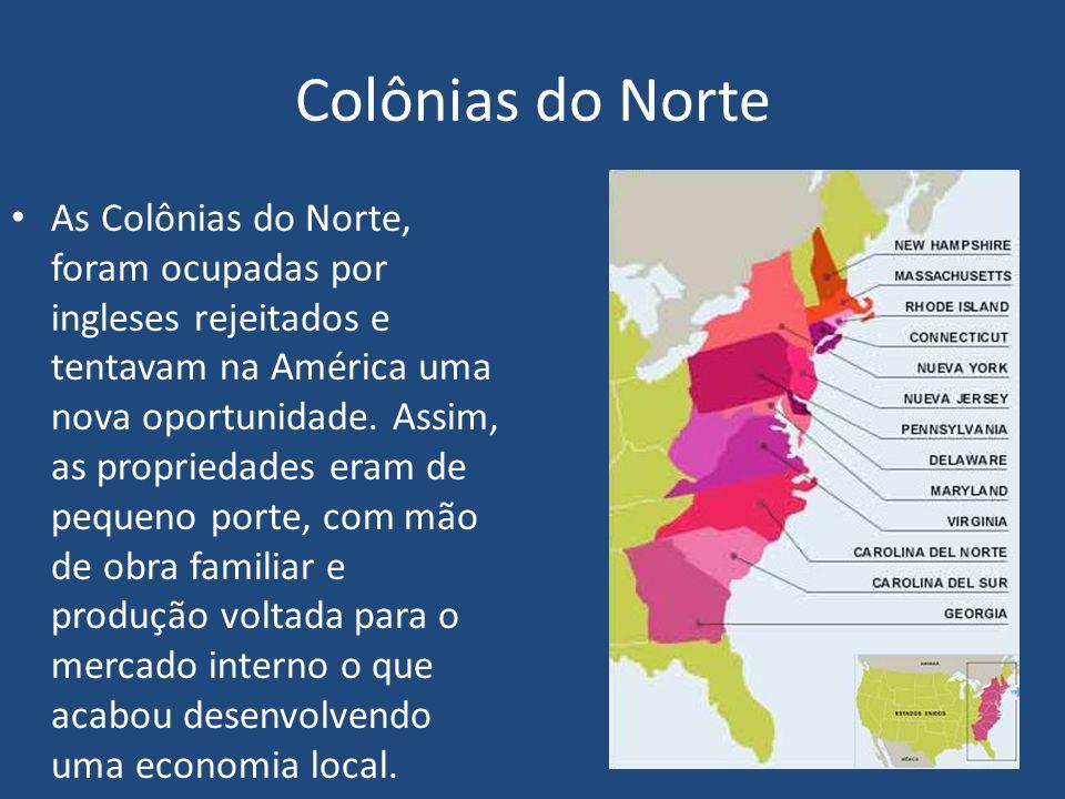 Colônias do Norte As Colônias do Norte, foram ocupadas por ingleses rejeitados e tentavam na América uma nova oportunidade.