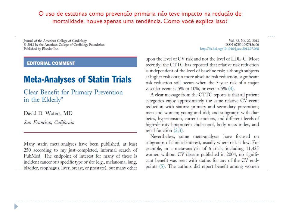 RISCO RELATIVO DE MORTALIDADE ESTATINA PLACEBO Mortalidade Geral Mortalidade Cardiovasular RRR 5,9% RRR 9,7%