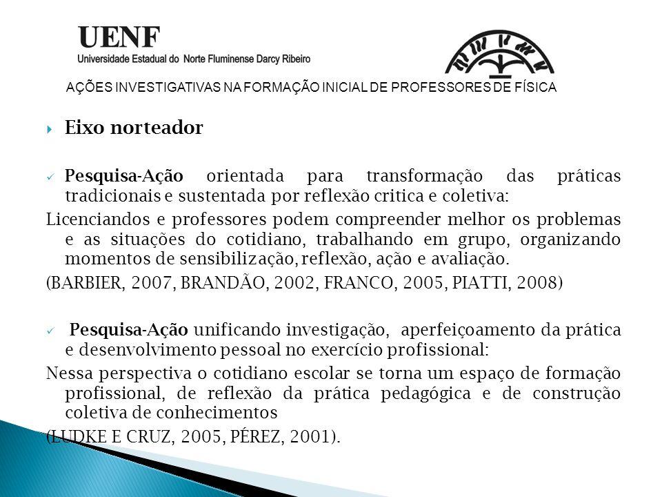  Eixo norteador Pesquisa-Ação orientada para transformação das práticas tradicionais e sustentada por reflexão critica e coletiva: Licenciandos e pro