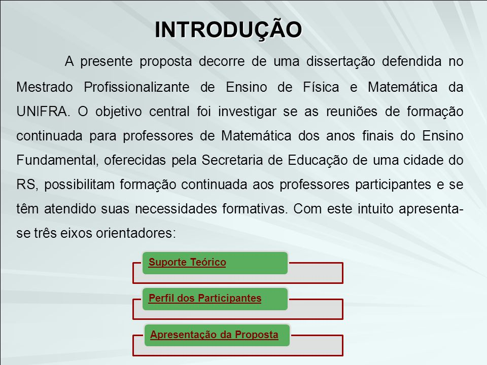 O ensino de Matemática nos anos finais do Ensino Fundamental segundo os PCN's Formação Continuada Formação Inicial O Processo Formativo SUPORTE TEÓRICO Educação Matemática