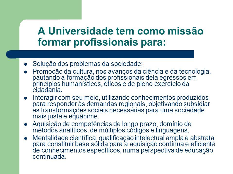 A Universidade tem como missão formar profissionais para: Solução dos problemas da sociedade; Promoção da cultura, nos avanços da ciência e da tecnologia, pautando a formação dos profissionais dela egressos em princípios humanísticos, éticos e de pleno exercício da cidadania.