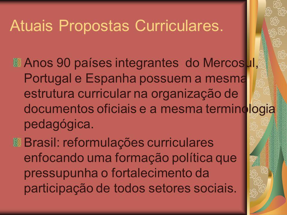 Atuais Propostas Curriculares. Anos 90 países integrantes do Mercosul, Portugal e Espanha possuem a mesma estrutura curricular na organização de docum