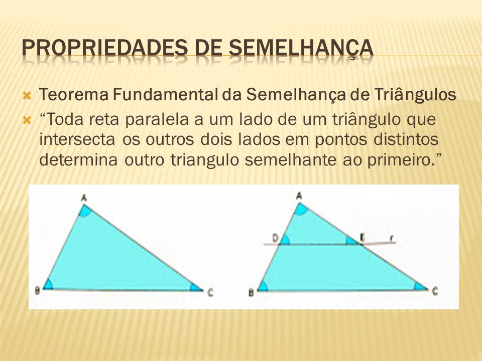  Teorema Fundamental da Semelhança de Triângulos  Toda reta paralela a um lado de um triângulo que intersecta os outros dois lados em pontos distintos determina outro triangulo semelhante ao primeiro.