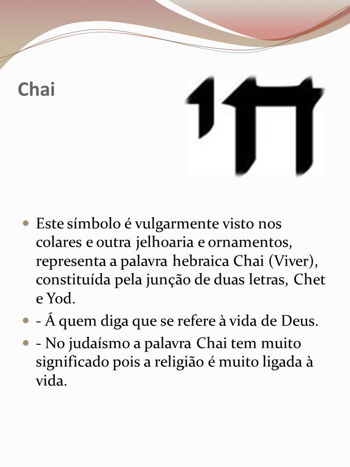 Chai Este símbolo é vulgarmente visto nos colares e outra jelhoaria e ornamentos, representa a palavra hebraica Chai (Viver), constituída pela junção de duas letras, Chet e Yod.