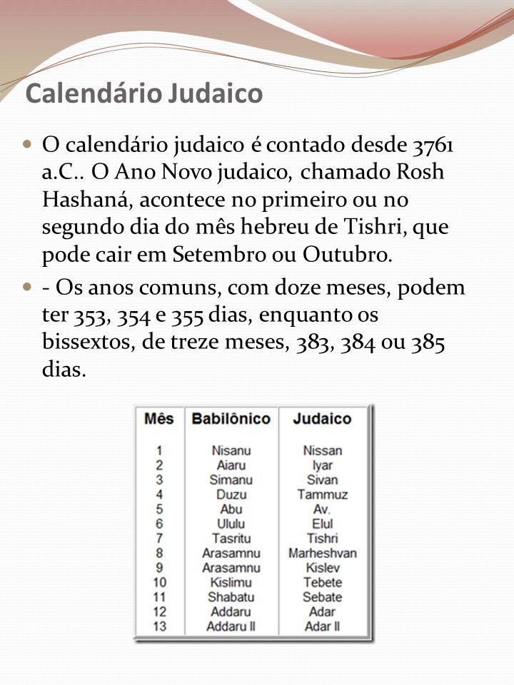 Calendário Judaico O calendário judaico é contado desde 3761 a.C.. O Ano Novo judaico, chamado Rosh Hashaná, acontece no primeiro ou no segundo dia do