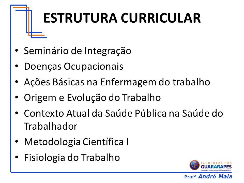 Profº André Maia ESTRUTURA CURRICULAR Seminário de Integração Doenças Ocupacionais Ações Básicas na Enfermagem do trabalho Origem e Evolução do Trabalho Contexto Atual da Saúde Pública na Saúde do Trabalhador Metodologia Científica I Fisiologia do Trabalho