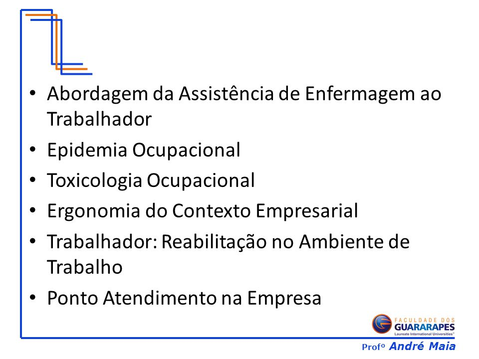 Profº André Maia Abordagem da Assistência de Enfermagem ao Trabalhador Epidemia Ocupacional Toxicologia Ocupacional Ergonomia do Contexto Empresarial Trabalhador: Reabilitação no Ambiente de Trabalho Ponto Atendimento na Empresa