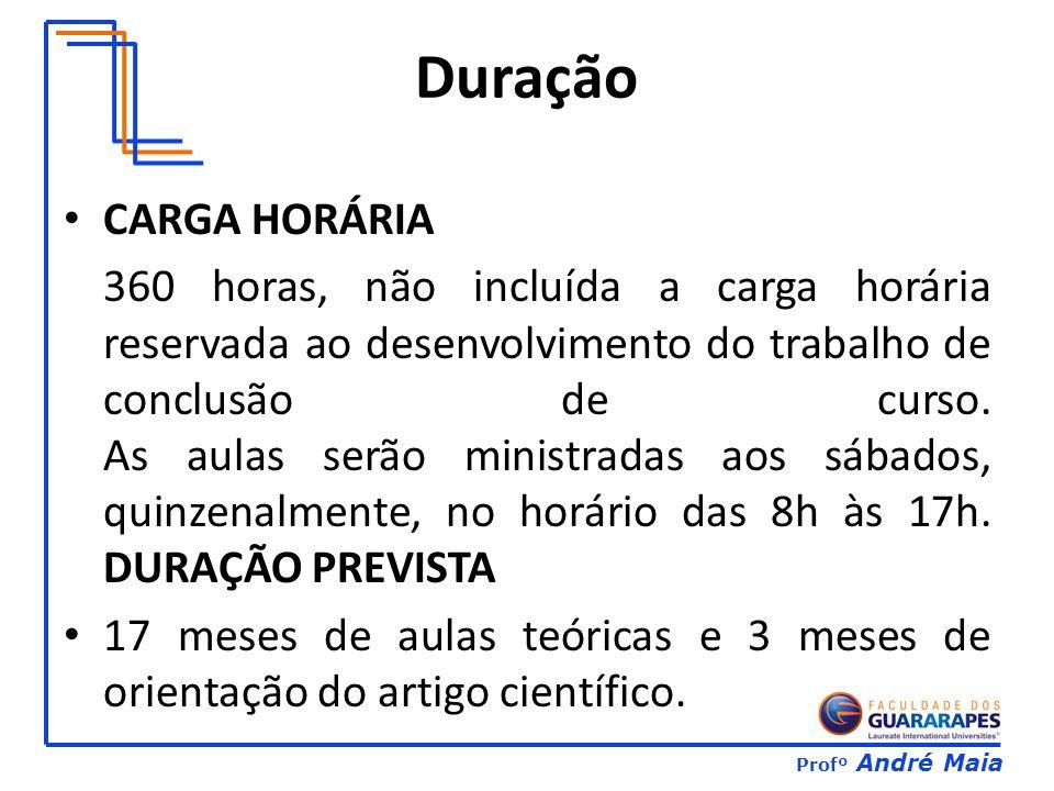 Profº André Maia Duração CARGA HORÁRIA 360 horas, não incluída a carga horária reservada ao desenvolvimento do trabalho de conclusão de curso.