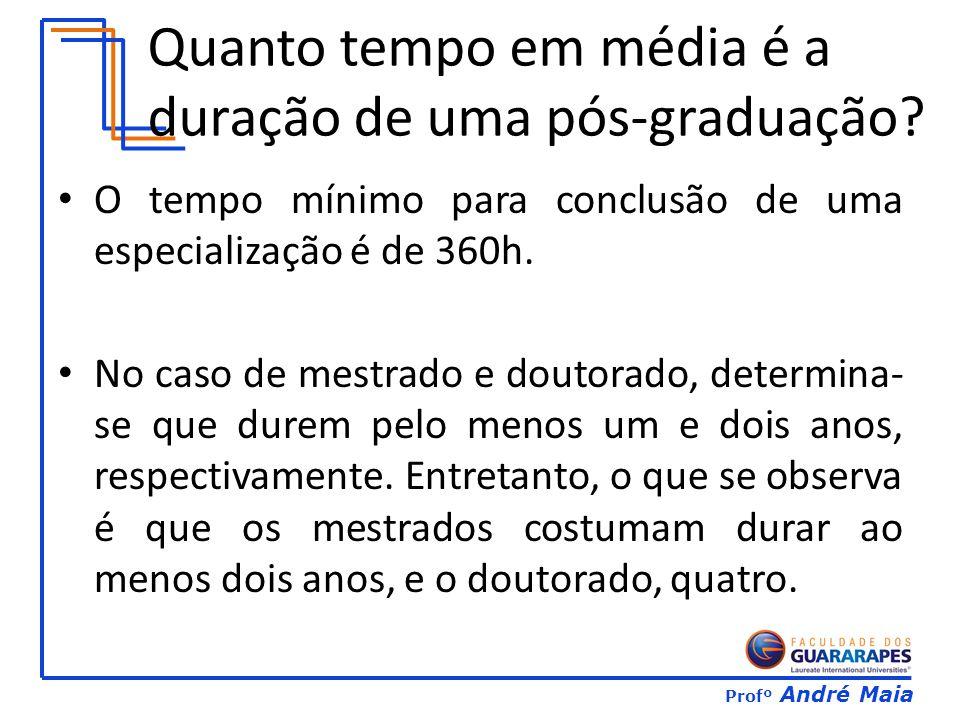 Profº André Maia Quanto tempo em média é a duração de uma pós-graduação.